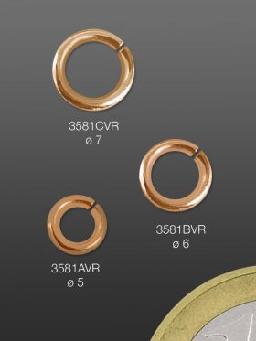 Biegeringe, Stärke 1 mm, verschiedene Größen, Silber rosévergoldet - VE 10 St. - ø 5 mm