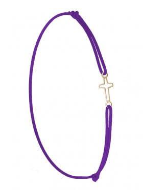Symbolarmband Kreuz mini an Elastikband, lila, Silber vergoldet