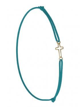 Symbolarmband Kreuz mini an Elastikband, petrol, Silber vergoldet
