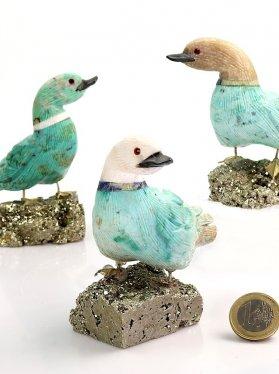 Türkis in Chrysokoll Ente auf Pyrit Sockel