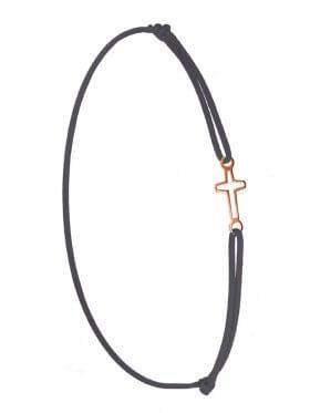 Symbolarmband Kreuz mini an Elastikband, dunkelgrau, Silber rosévergoldet
