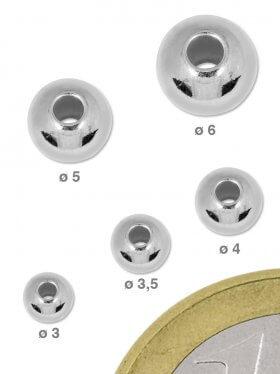 Kugel mit großem Loch, 925 Silber