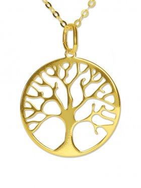 Baum des Lebens (ø 15) inkl. Ankerkette L 38 cm, 925 Silber vergoldet
