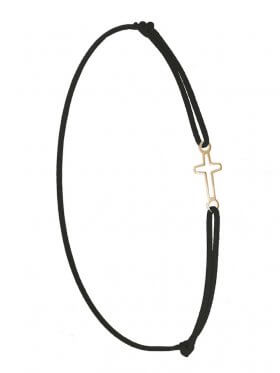 Symbolarmband Kreuz mini an Elastikband, schwarz, Silber vergoldet