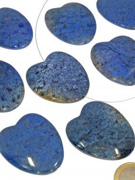 Dumortierit, herzförmig 48/42 mm, Element zum Fädeln, 1 Stück