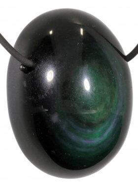Kettenanhänger aus dem Schmuckstein Regenbogen-Obsidian, 1 Stück