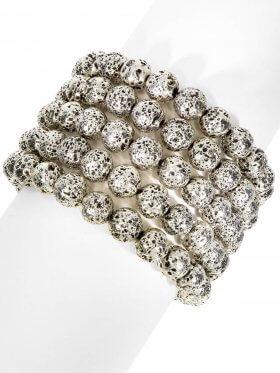 Lava metallbedampft, Kugel ø 8 - 9 mm, Armband auf Elastikband Länge ca. 19 cm, 1 St.