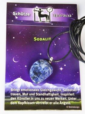 Glücksbringer-Steine nach Sternzeichen mit silberner Öse Lederband und Beschreibung
