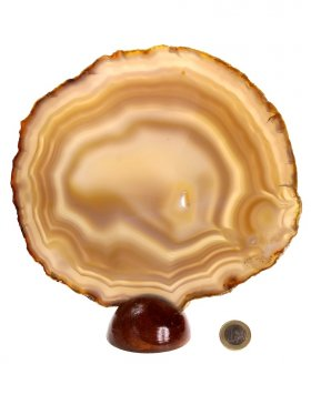 Achatscheibe aus Brasilien mit Holzsockel, Unikat