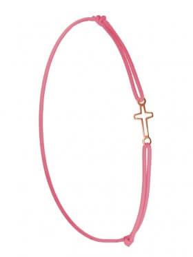 Symbolarmband Kreuz mini an Elastikband, rosa, Silber rosévergoldet