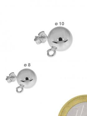 Ohrstecker mit Kugel, Öse und Butterfly, 925 Silber