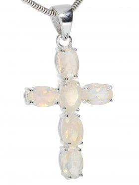 Regenbogenmondstein, Kreuz Anhänger in 925 Silber gefasst mit Öse, 1 St.