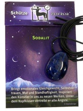Glücksbringer-Steine nach Sternzeichen gebohrt mit Lederband und Beschreibung