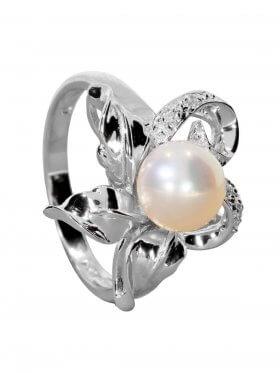 Süsswasserperle weiß mit Zirkonia (CZ), Ring, Silber rhodiniert, verschiedene Größen, 1 St.