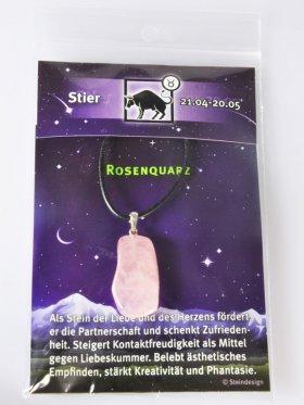 Sternstein Stier, Rosenquarz mit Öse
