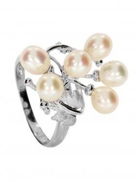 Perle weiß, Ring, Silber rhodiniert, verschiedene Größen, 1 St.