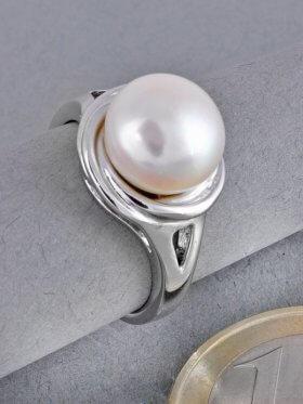 Perle weiß, Ring, versch. Größen erhältlich, rhodiniert - 58