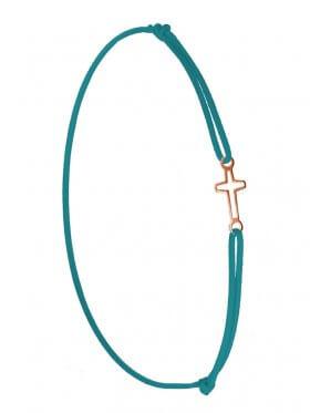 Symbolarmband Kreuz mini an Elastikband, petrol, Silber rosévergoldet