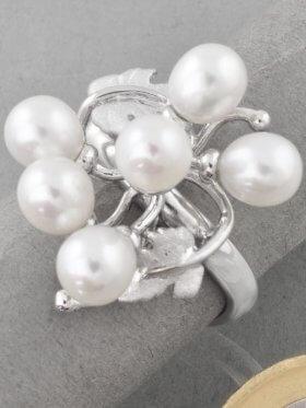 Perle weiß, Ring, Silber rhodiniert, Größe 54