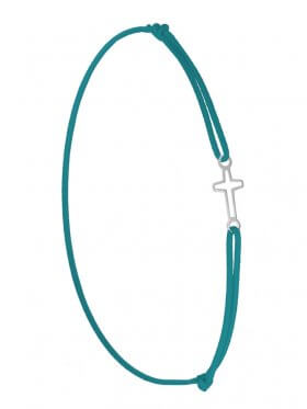 Symbolarmband Kreuz mini an Elastikband, petrol, Silber rhodiniert