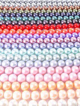 Muschelkernperle pastellfarben matt, verschiedene Größen, Strang